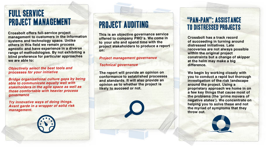 Crossbolt specialises in project manaagement, project auditing and assisting distressed projects